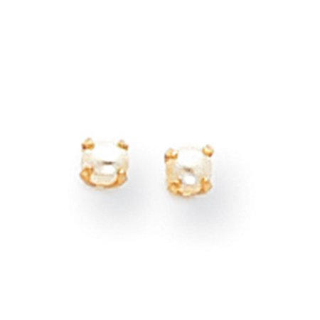 14k Yellow Gold Childrens Baby FW Cultured Pearl Earrings 3mm x (Yellow Gold Childrens Birthstone Earrings)