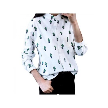 MarinaVida Women Casual Long Sleeve Cotton Cactus Printed Blouse Stand Collar Office Shirt