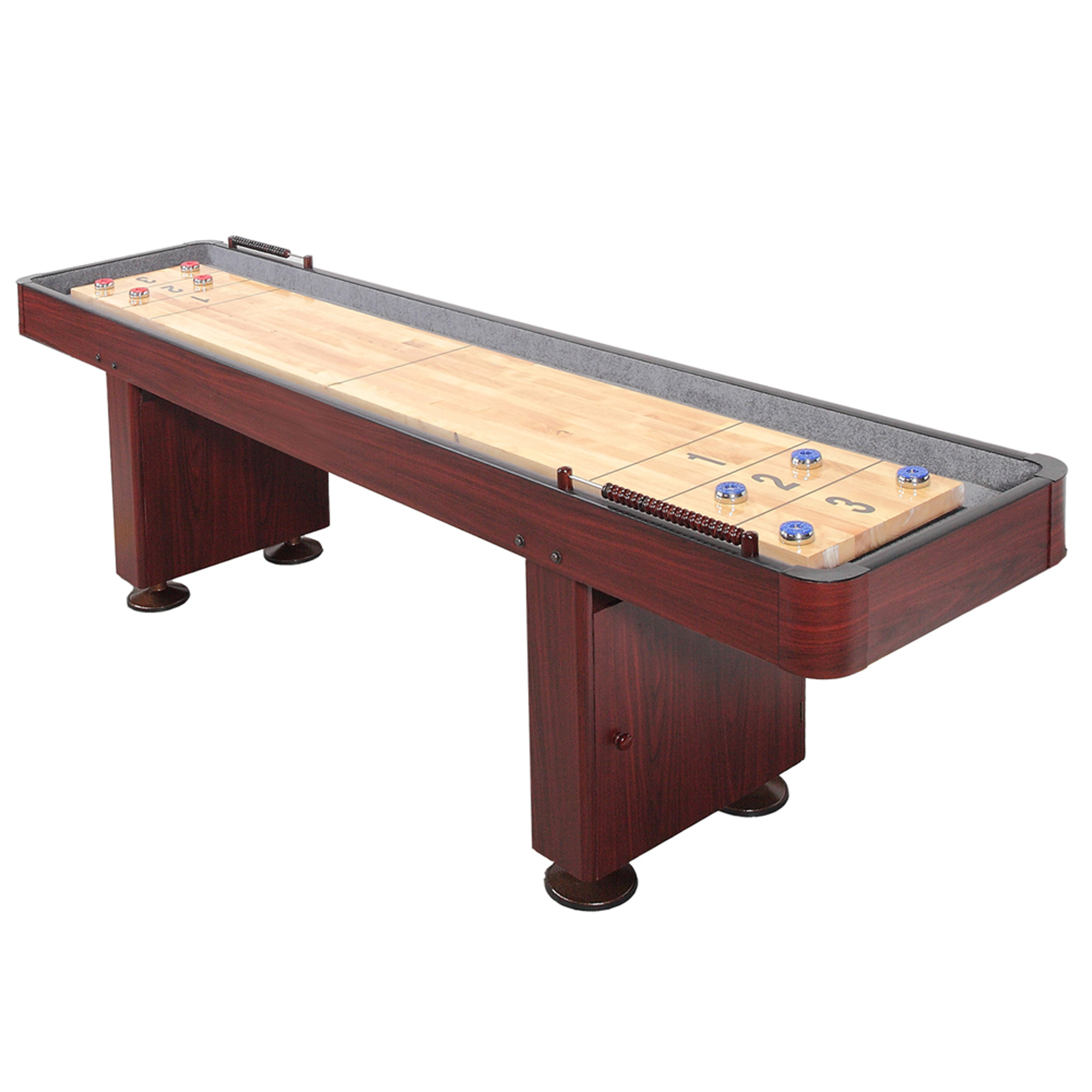 Hathaway Challenger 9-Ft Shuffleboard Table w Dark Cherry Finish, Hardwood Playfield and Storage Cabinets