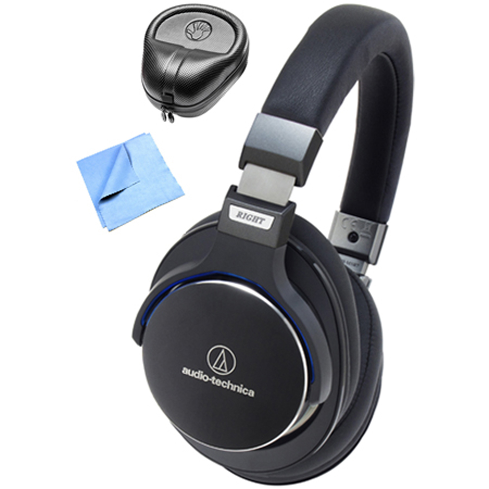 Audio-Technica SR7 SonicPro Over-Ear High-Resolution Headphones with Slappa HardBody Headphone Case & Cleaning Cloth, Black