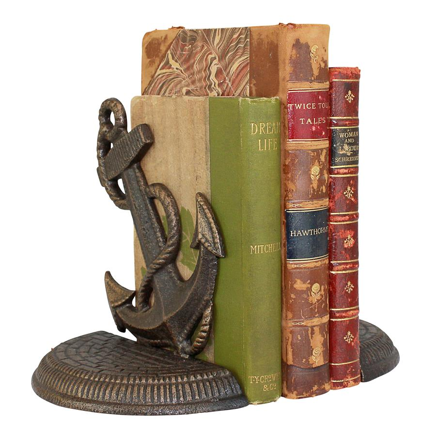 Maritime Anchor Cast Iron Sculptural Bookend Pair