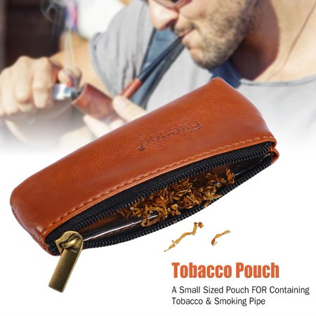 Dioche Portable Zippered PU Leather Pouch Bag Case Holder for Preserving Tobacco & Smoking Pipe,Tobacco Pouch, Tobacco