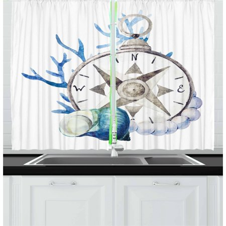 Compass Curtains 2 Panels Set, Watercolor Marine Life Theme Seashell Compass Voyaging Vibrant Color Print, Window Drapes for Living Room Bedroom, 55W X 39L Inches, Navy Blue Eggshell, by