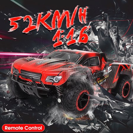 MECO 1/16 RC Truck 2.4Ghz 2WD High Speed Off-road Electric Remote Control Car Short Course Truck Red Kid Toy Birthday