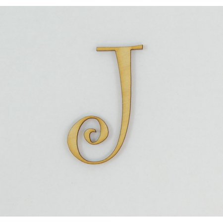 1 Pc, 5 Inch X 1/8 Inch Thick Wood Letters J In The Curlz Font Great For Craft Project & Different (Mother's Day Projects)