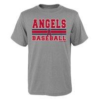 MLB Los Angeles ANGELS TEE Short Sleeve Boys OPP 90% Cotton 10% Polyester Gray Team Tee 4-18