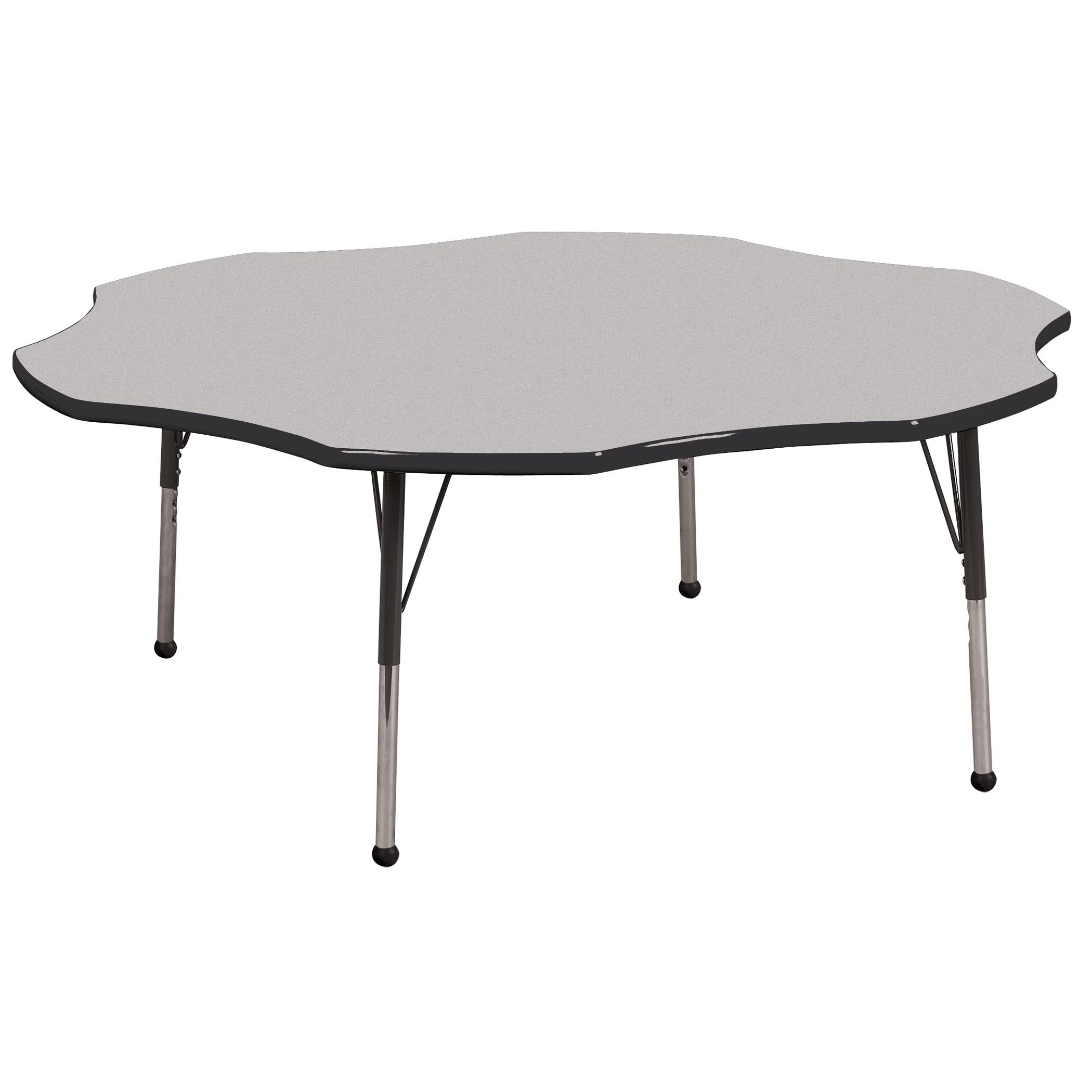 ECR4Kids 60'' Flower Shaped Adjustable Activity Table in Gray