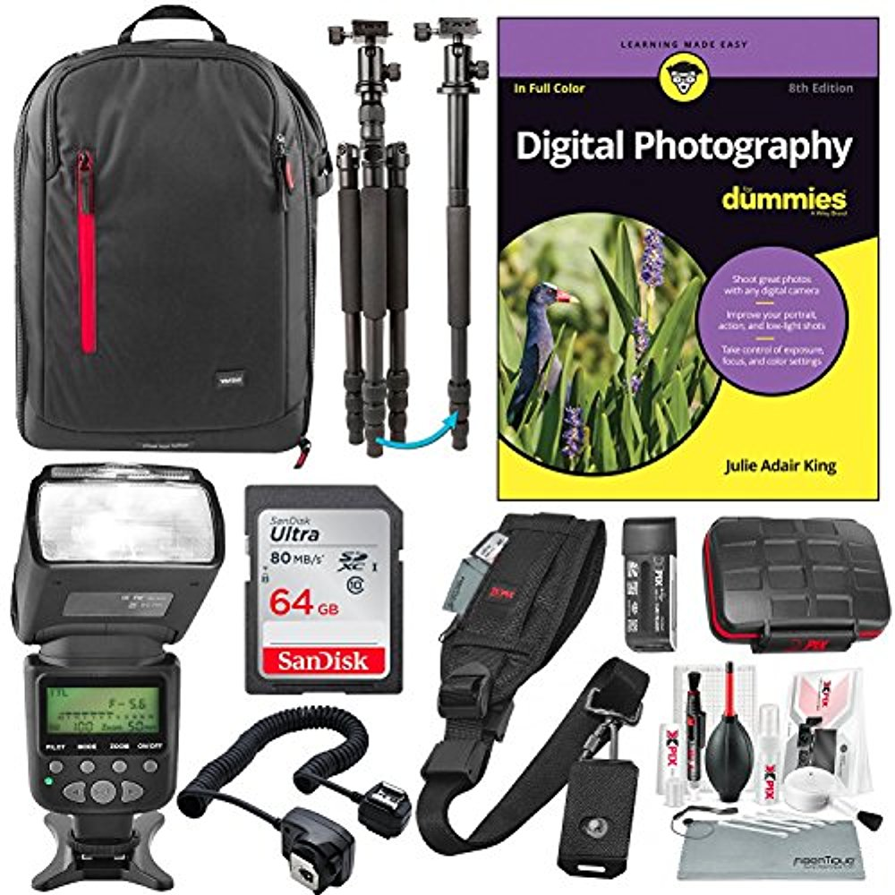 Digital Photography for Dummies Premium Bundle w/E-TTL AF Power Zoom Flash, Professional Sturdy Tripod, 64GB, Much More for Canon DSLRs EOS Rebel 5D 6D 7D 80D 77D T6S T7i T6 T6i SL2
