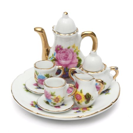 Meigar 8Pcs Kids Mini Porcelain Tea Set Toys Retro Style Teapot Ceramic Coffee Teacup Floral Cups Dazzling Toys Set Gift
