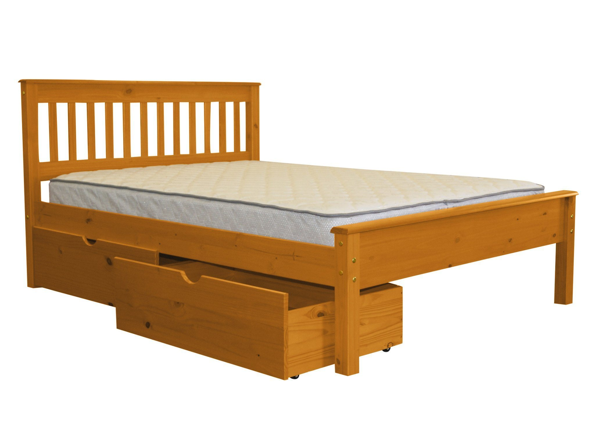 Bedz King Mission Style Full Bed With 2 Under Bed Drawers, Honey    Walmart.com