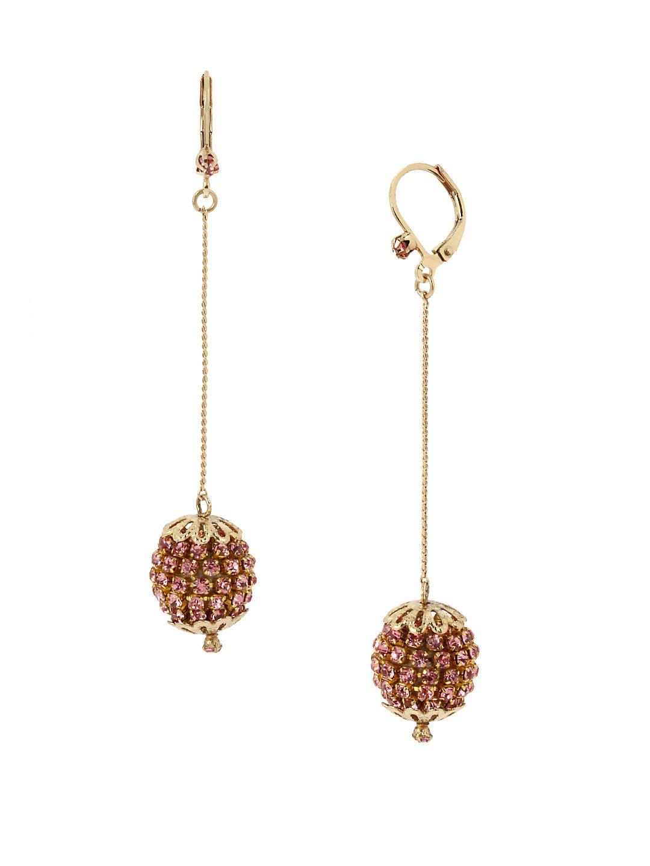 Sparkle Sphere Pink Crystal Fireball Linear Earrings