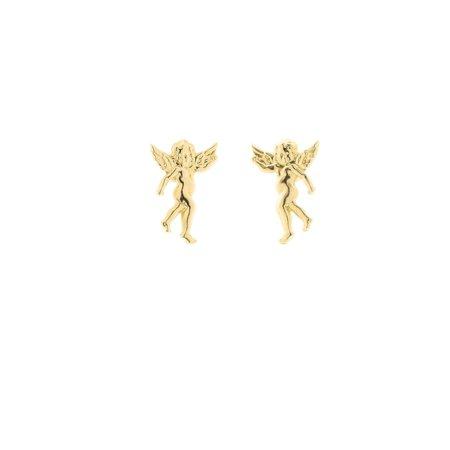 14k Yellow Gold Cherub Guardian Angel Stud Earrings ()
