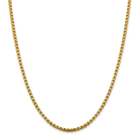 Round Hollow Rolo Chain - Roy Rose Jewelry 14K Yellow Gold 3.6mm Hollow Round Box Chain ~ length: 22 inches