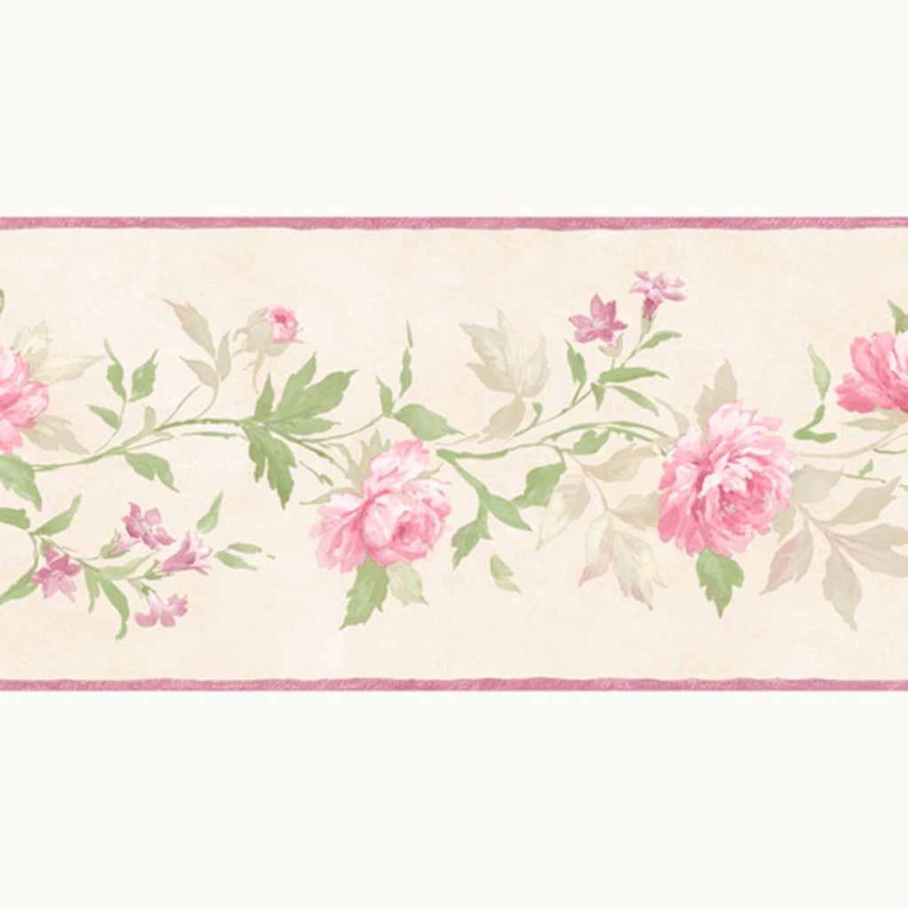 Beige And Pink Vines Of Roses Wallpaper Border Patton Norwall