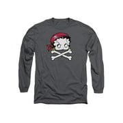 Betty Boop Cartoon Pirate Adult Long Sleeve T-Shirt Tee