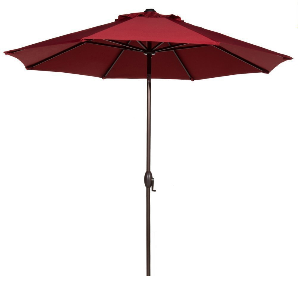 Beau Abba Patio 9 Ft Fade Resistant Sunbrella Fabric Aluminum Patio Umbrella  With Auto Tilt And Crank, 8 Ribs, Red