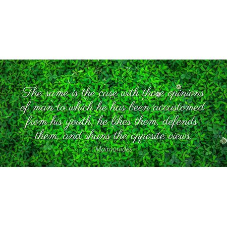 Maimonides - The same is the case with those opinions of man to which he has been accustomed from his youth; he likes them, defends them, and shuns the op - Famous Quotes Laminated POSTER PRINT 24X20.](Oceans 12 Quotes Halloween)