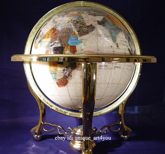 Unique Art 21-Inch Tall Pearl Swirl Ocean Table Top Gemstone World Globe with Gold Tripod