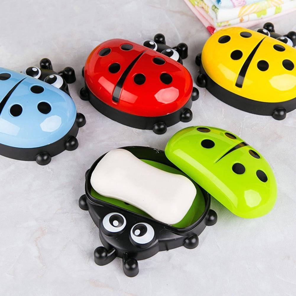 Moderna Bathroom Cartoon Ladybird Cute Soap Holder Storage Box Travel Portable Soap Dish