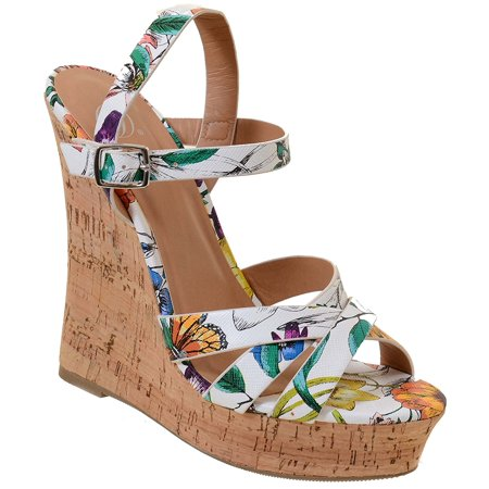 Fourever Funky Open Peep Toe Ankle Strap Buckle High Heel Platform Cork Wedge Sandals (7)