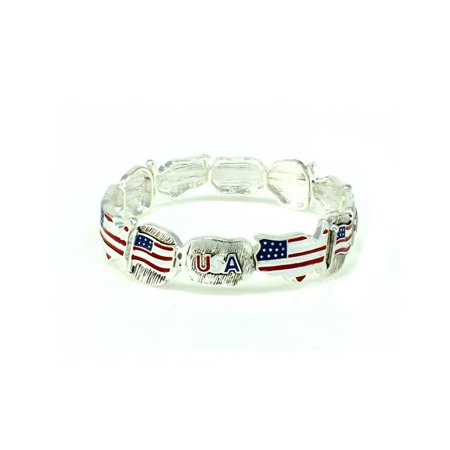 Beautiful USA Flag Patriotic Theme Silver Tone Stretch (Trifari Silver Tone Bracelet)