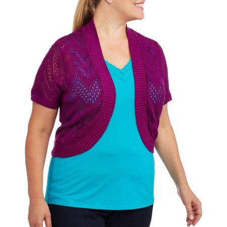 Faded Glory Women's Plus-Size Short Sleeve Sweater Shrug