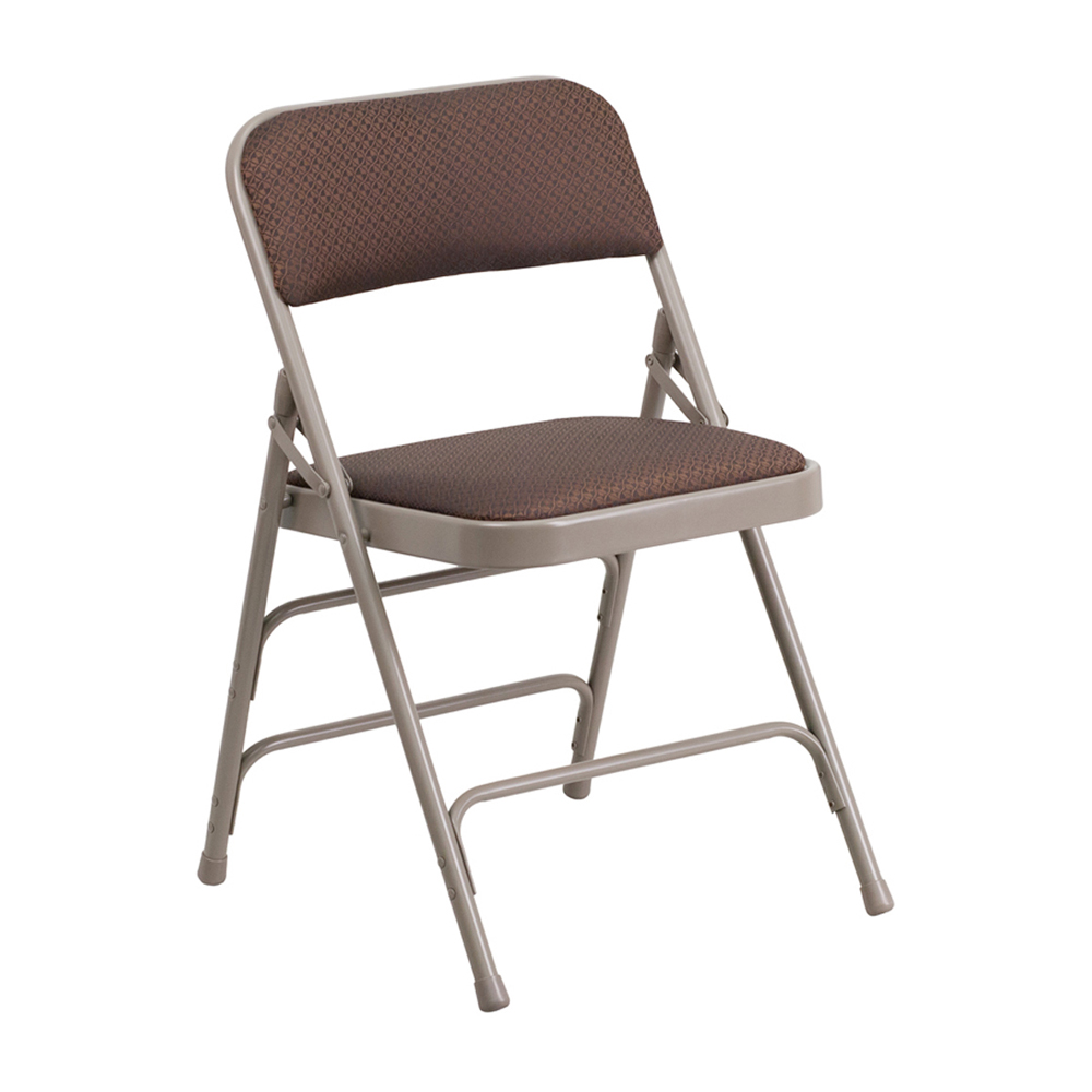 Offex HERCULES Series Curved Triple Braced & Quad Hinged Brown Patterned Fabric Upholstered Metal Folding Chair