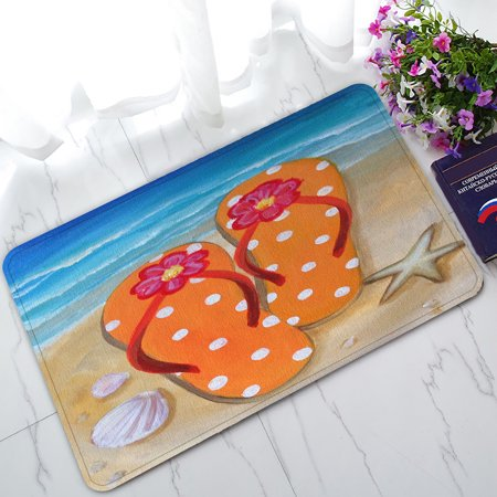 ZKGK Beach Flip Flops Non-Slip Doormat Indoor/Outdoor/Bathroom Doormat 30 x 18 - Wicker Beach Mat