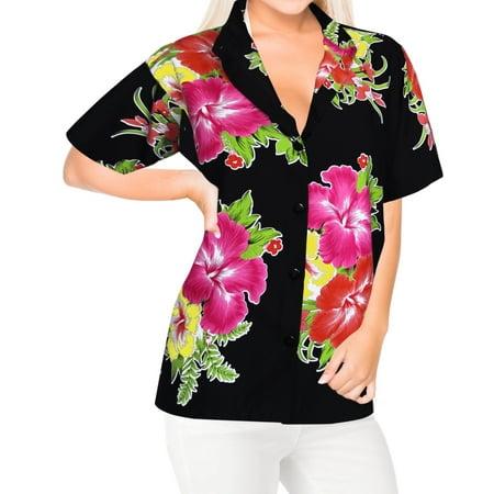 HAPPY BAY Women's Beach hawaiian button down blouse casual tank top aloha Shirt Pink_X18