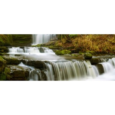 Waterfalls in a forest Scaleber Force Yorkshire Dales North Yorkshire England Canvas Art - Panoramic Images (15 x