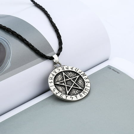 Outtop Pendant Necklace Large Rune Nordic Viking Pentagram Jewelry Wiccan Pagan Norse