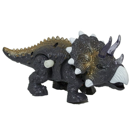 Tin Wind Up Walking - 7.5 Inch Wind Up Walking Triceratops with Lights and Sounds (Grey)