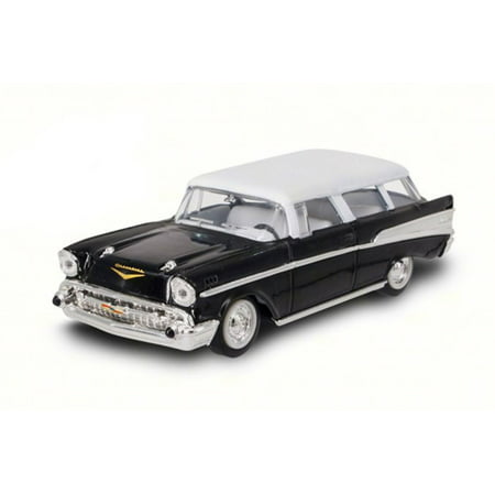 1957 Chevrolet Nomad, Black w/ White - Road Signature 94203 - 1/43 Scale Diecast Model Toy Car