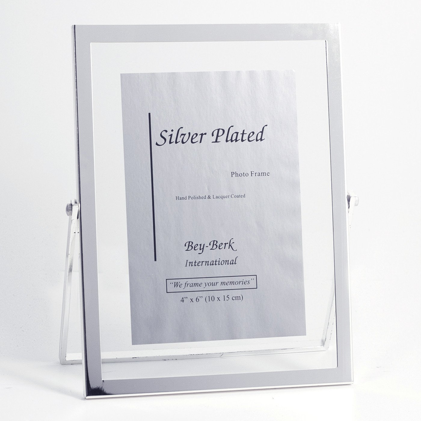 Bey-Berk Silver-Plated Floating 4 x 6 in. Photo Frame - Tarnish Proof