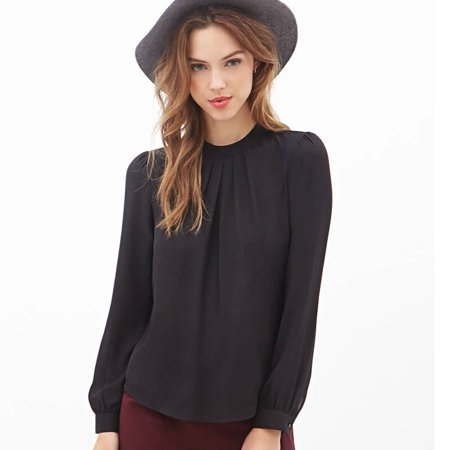 84a2b2e7532a Women Summer Fold Casual Chiffon Long Sleeve Shirt Tops Blouse Black L -  Walmart.com