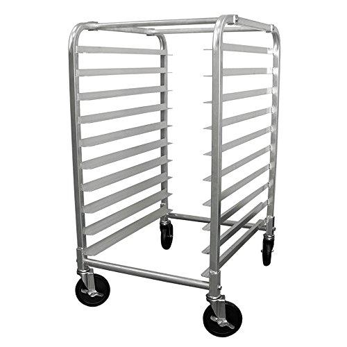 Commercial 10 Tier Bun Pan Rack - Aluminium Full or Half Size Sheet Pan Rack with Locking Wheels