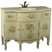 One Allium Way Monserrat 44'' Single Painted Floral Style Bathroom Vanity Set