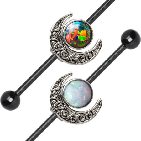 Industrial Barbell Opal and Moon Charms 14ga Cartilage 316L Steel + Extra Bars ()