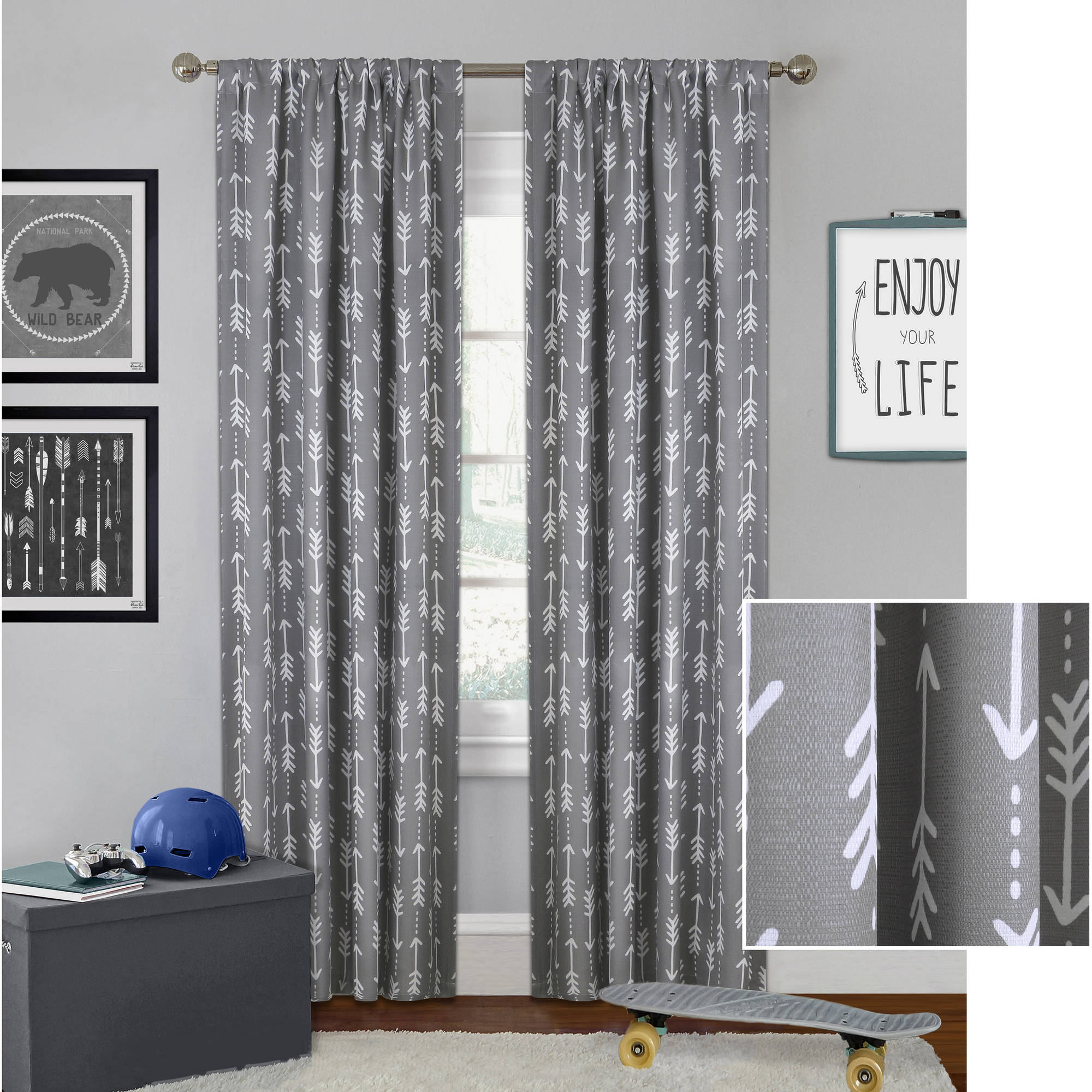 Nice Better Homes And Gardens Arrows Boys Bedroom Curtain Panel