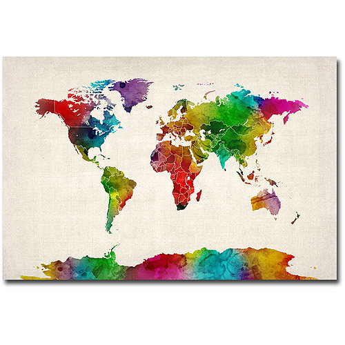 "Trademark Art ""Watercolor World Map II"" Canvas Art by Michael Tompsett"