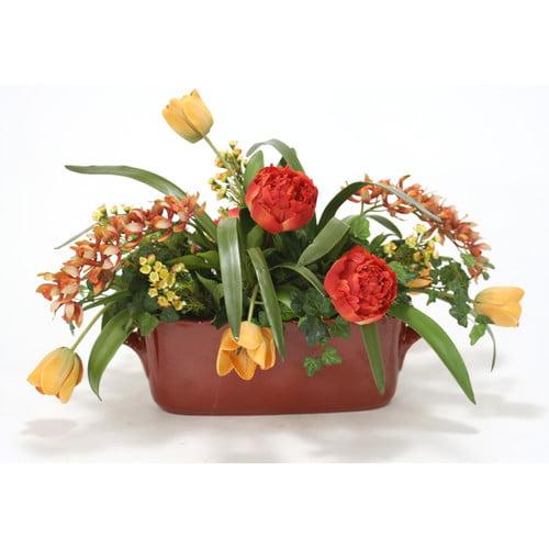 Distinctive Designs Silk Garden Floral Mix in Oval French Tureen