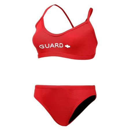 Adoretex Women's Guard Cross Back Workout Bikini Swimsuit (FGP08) - Red - (Back Workout Bikini)