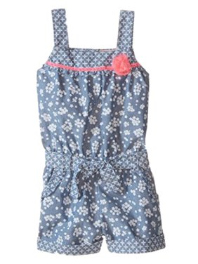 Little Lass Infant & Toddler Girls Denim Floral Romper Outfit