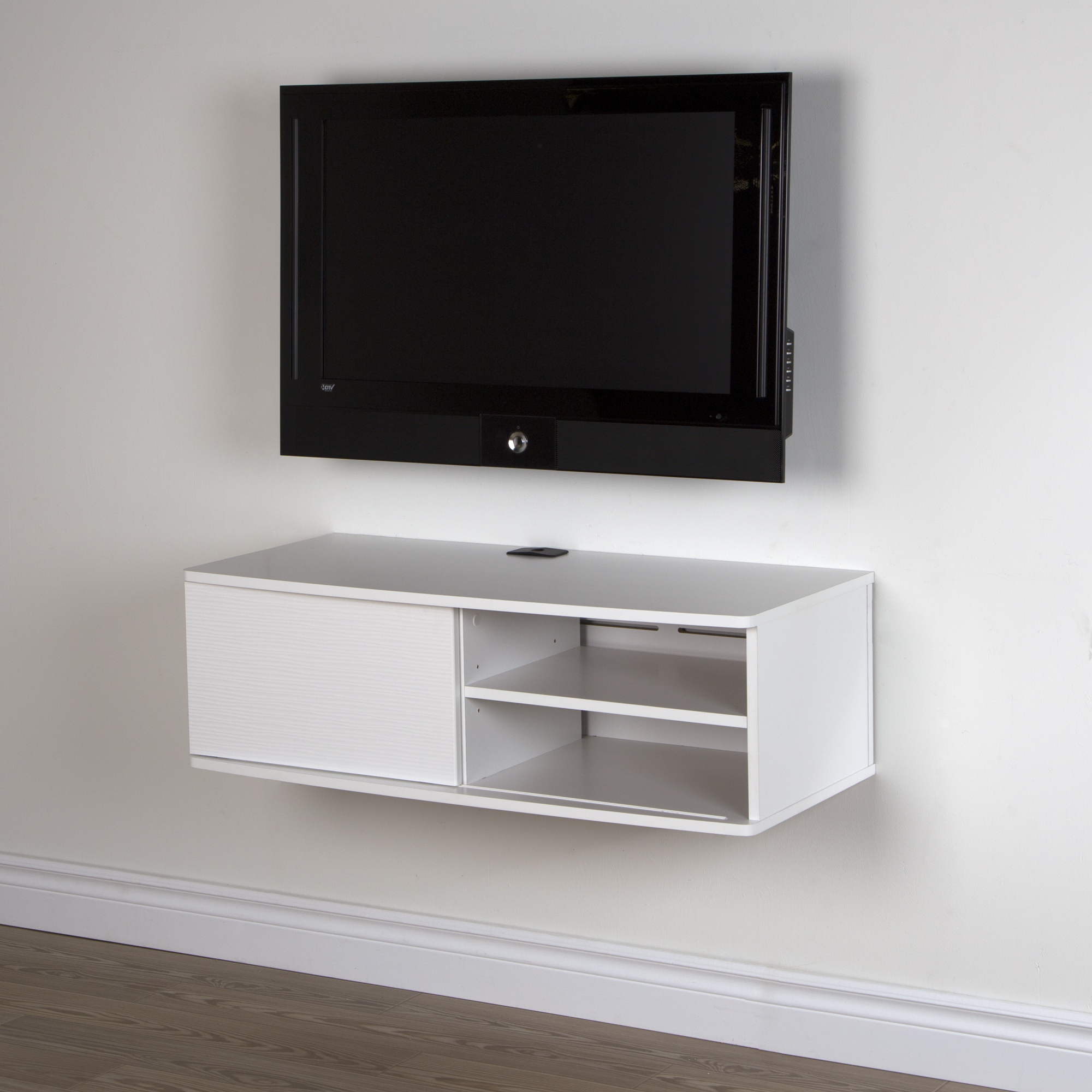 Enjoyable Wall Mounted Tv Stand For Tvs Up To 38 Inch White Sliding Download Free Architecture Designs Aeocymadebymaigaardcom