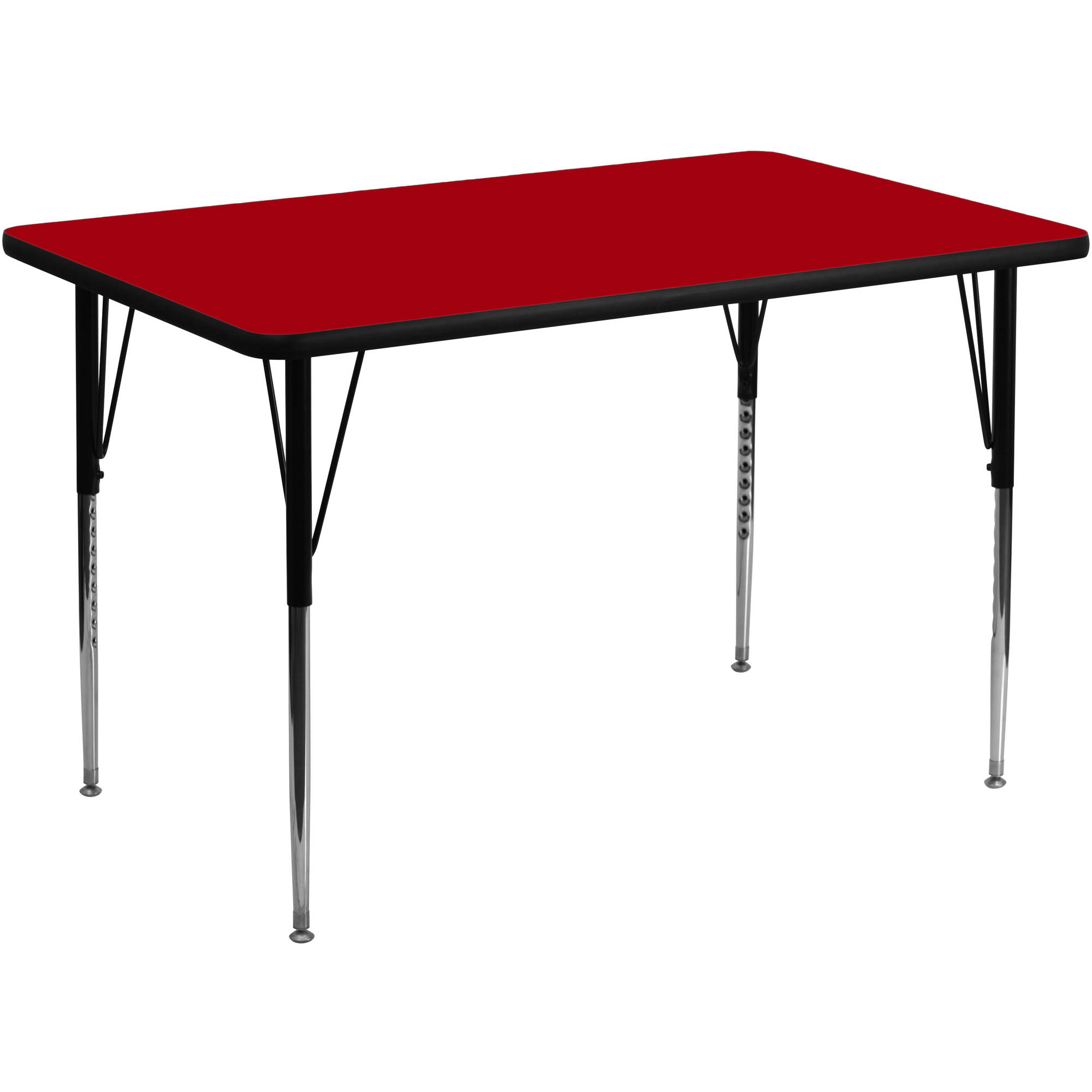 Flash Furniture 36''W x 72''L Rectangular Activity Table with Red Thermal Fused Laminate Top and Standard Height Adjustable Legs