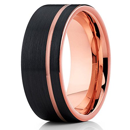 Tungsten Wedding Rings.Silly Kings 8mm Brushed Black Tungsten Carbide Wedding Ring Rose Gold Inlay Offset Groove Men Women Comfort Fit Band 12