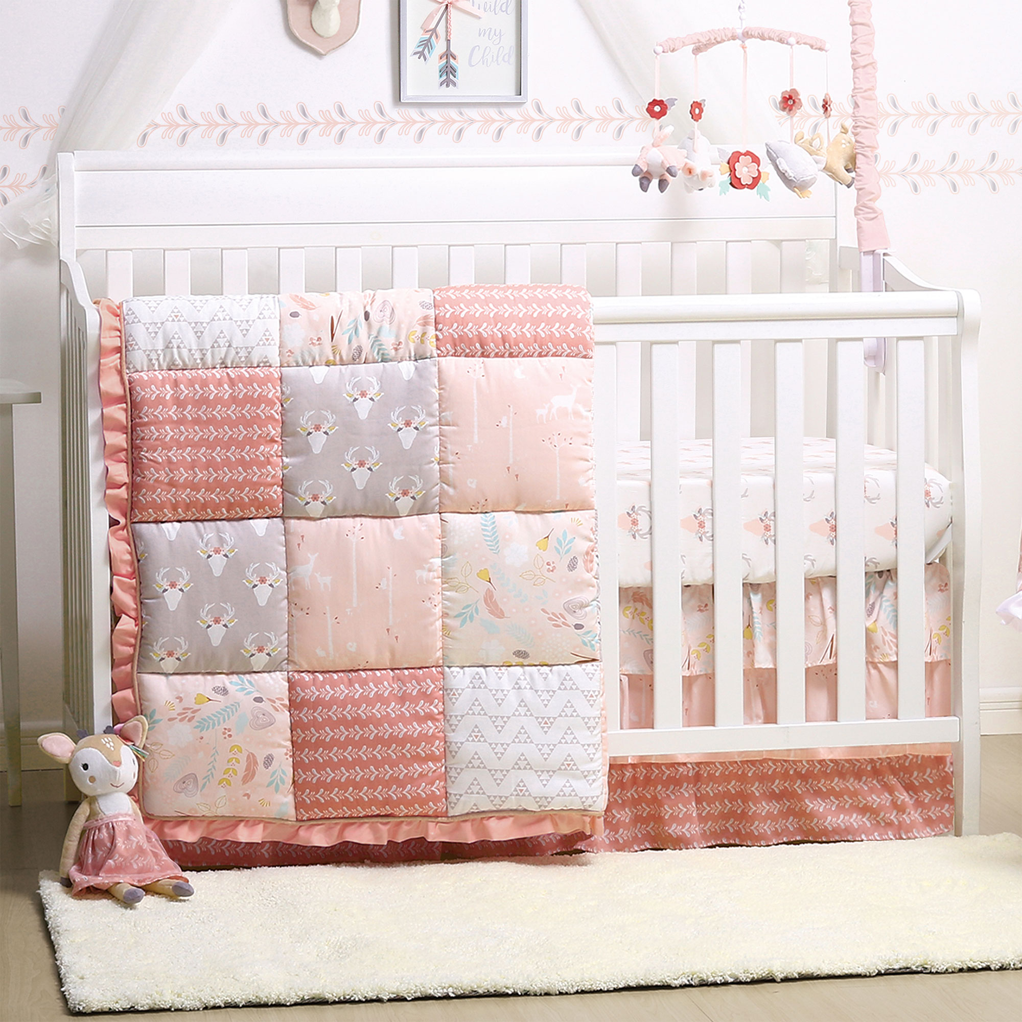 Baby Girl Crib Bedding Forest Animal Theme Woodland Whimsy 4 Piece Set By