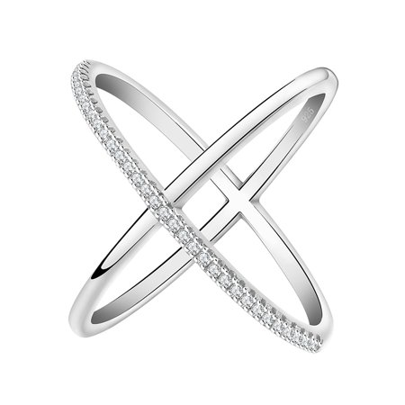 Ginger Lyne Collection Infinity Ring Crisscross deisgn Micro Pave CZ Rose or White Gold Plated ()