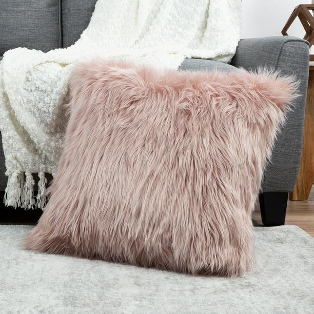 Somerset Home Himalayan Faux Fur Pillow 22â Square Cover Insert Pink Walmart Com Walmart Com