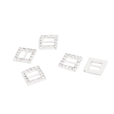 Ribbon Bow Knot Metal Square DIY Decor Rhinestone Buckle Slider 16 x 16mm 5pcs